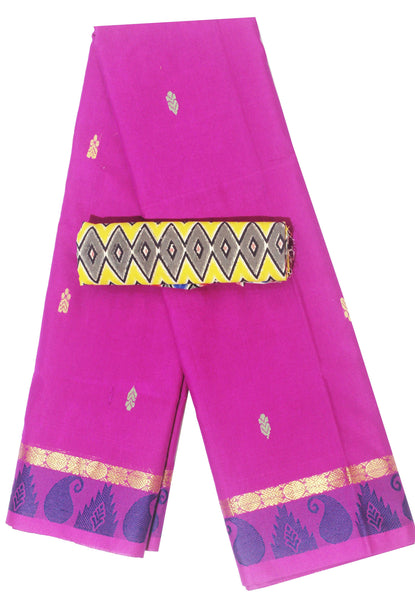 Madurai cotton saree with a matching Kalamkari Blouse material - (33108A), Sarees - Swadeshi Boutique