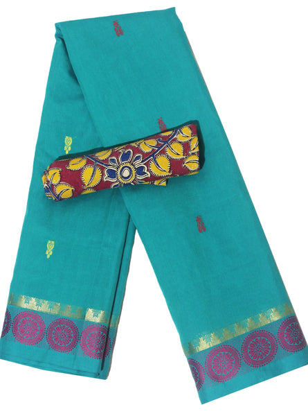 Madurai cotton saree with a matching Kalamkari Blouse material - (33109A), Sarees - Swadeshi Boutique