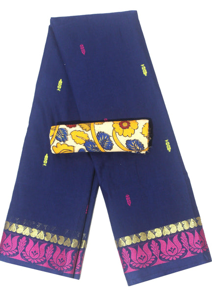 Madurai cotton saree with a matching Kalamkari Blouse material - (33110A), Sarees - Swadeshi Boutique