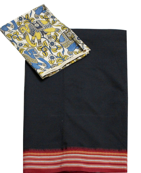 * No GST Sale 50% Off  * Dharwad Quality Poly cotton saree with a beautiful matching kalamkari blouse material (34002A)