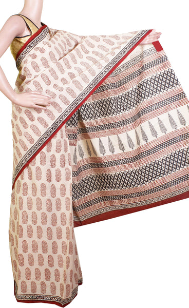 Jaipur pure cotton saree with beautiful design in body, Pallu & attached blouse [Beige & Red]-(34009A)