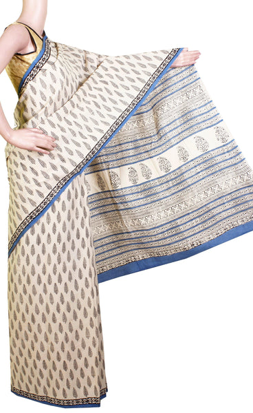 Jaipur pure cotton saree with beautiful design in body, Pallu & attached blouse [Beige & Blue]-(34010B)