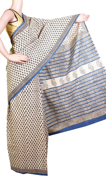 * SALE * Jaipur pure cotton saree with beautiful design in body, Pallu & attached blouse [Beige & Blue] -(34011A)