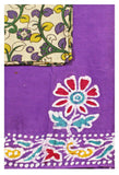 Batik cotton saree with a beautiful matching kalamkari blouse material (34070A)