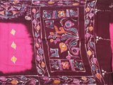 Batik cotton saree with a beautiful matching kalamkari blouse material (34089A)