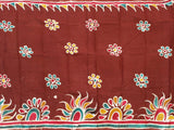 Batik cotton saree with a beautiful matching kalamkari blouse material (34090A)