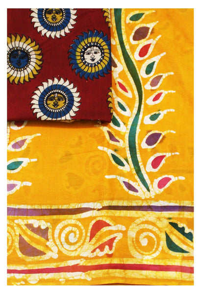 Batik cotton saree with a beautiful matching kalamkari blouse material (34106A)