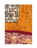 Batik cotton saree with a beautiful matching kalamkari blouse material (34112A)