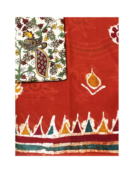 Batik cotton saree with a beautiful matching kalamkari blouse material (34114A)