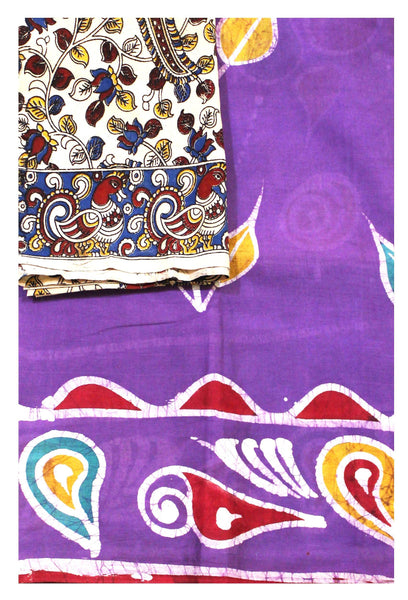 Batik cotton saree with a beautiful matching kalamkari blouse material (34117A)