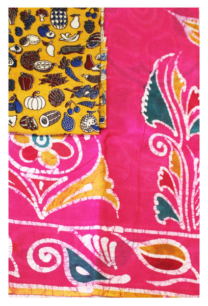 Batik cotton saree with a beautiful matching kalamkari blouse material (34121A)