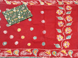 Batik cotton saree with a beautiful matching kalamkari blouse material (34123A)