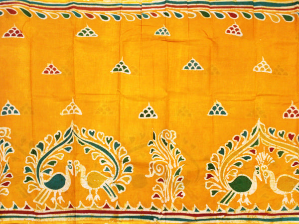 Batik cotton saree with a beautiful matching kalamkari blouse material (34129A)