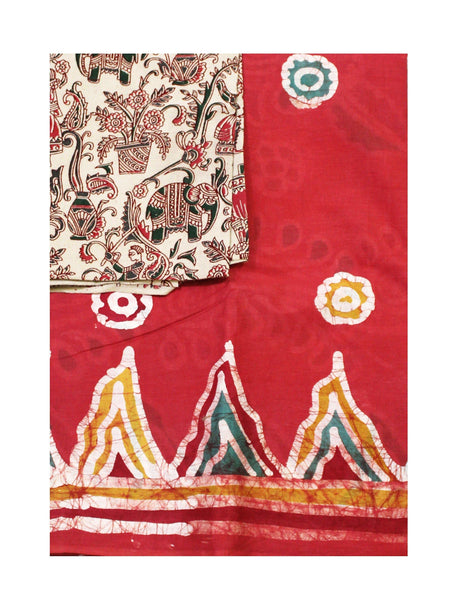 Batik cotton saree with a beautiful matching kalamkari blouse material (34130A)