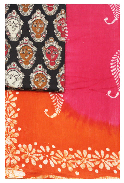 Batik cotton saree with a beautiful  Attached  blouse material+Additional Kalamkari Blouse (34134A)