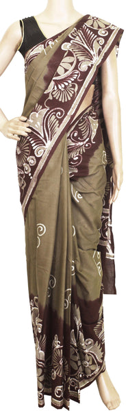 Batik cotton saree with a beautiful Attached blouse material -(34144A)