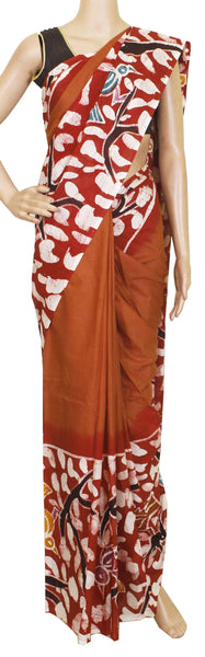 Batik cotton saree with a beautiful Attached blouse material -(34147A)