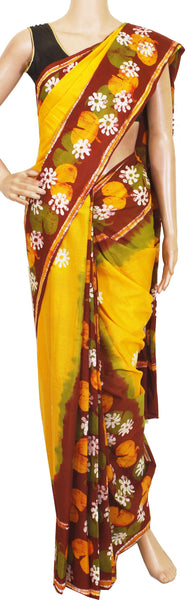Batik cotton saree with a beautiful Attached blouse material -Yellow(34149A)