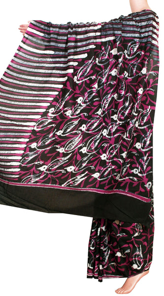 Batik cotton saree with a beautiful Attached blouse material+Additional Kalamkari Blouse -Pink & Black(34151A)