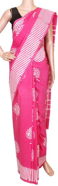 Batik cotton saree with a beautiful Attached blouse material+Additional Kalamkari Blouse -Pink(34156A)