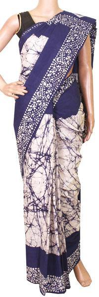 Batik cotton saree with a beautiful Attached blouse material-(34159A)