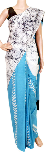 Batik cotton saree with a beautiful Attached blouse material -(34162A)