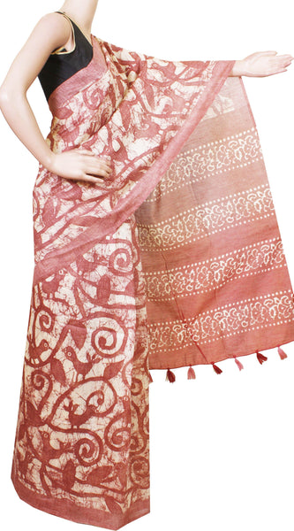 Beautiful Linen Saree with Batik Print with contrasting blouse material -47017A