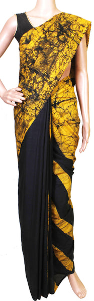 Batik cotton saree with a beautiful Attached blouse material+Bonus Kalamkari Blouse -(34167A)