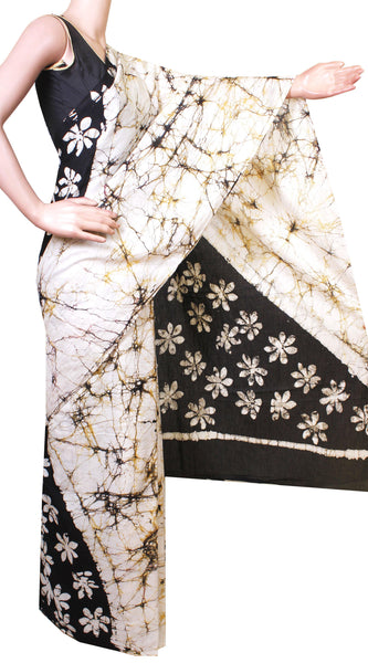 Batik cotton saree with a beautiful Attached blouse material -(34168A)