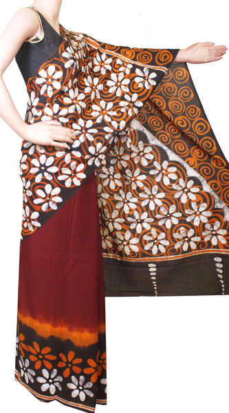 Batik cotton saree with a beautiful Attached blouse material+Bonus Kalamkari Blouse (Rs.299 value) -(34176A)