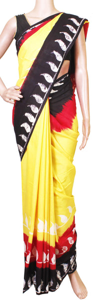 Batik cotton saree with a beautiful Attached blouse material+Bonus Kalamkari Blouse (Rs.299 value) -(34177A)