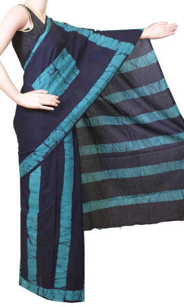Batik cotton saree with a beautiful Attached blouse material -(34183A)
