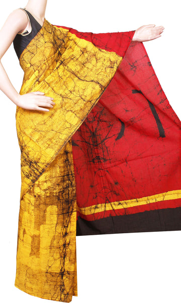 Batik cotton saree with a beautiful Attached blouse material -(34185A)