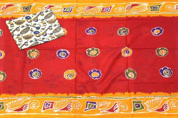 Batik cotton saree with a beautiful matching kalamkari blouse material (34195A) *SALE 50% OFF*, Sarees - Swadeshi Boutique