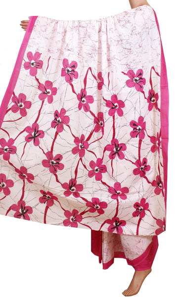 * Intro Price * Batik cotton saree with a beautiful Attached blouse material -(34201A)