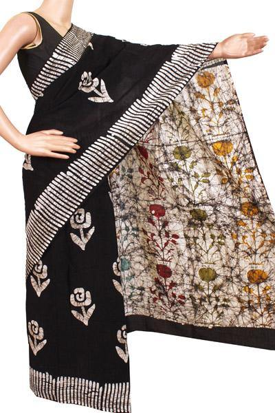 Batik cotton saree with an attached blouse material -(34207A) *Rs.100 OFF*, Sarees - Swadeshi Boutique