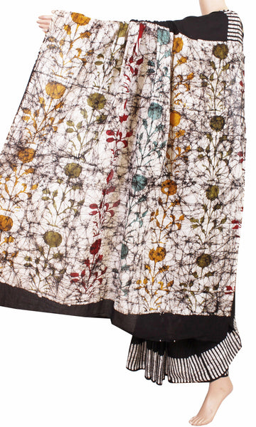 Batik cotton saree with a beautiful Attached blouse material -(34207A)