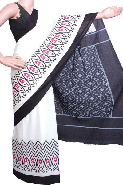 Batik cotton saree with a beautiful Attached blouse material -(34223C) *SALE 50% OFF*, Sarees - Swadeshi Boutique