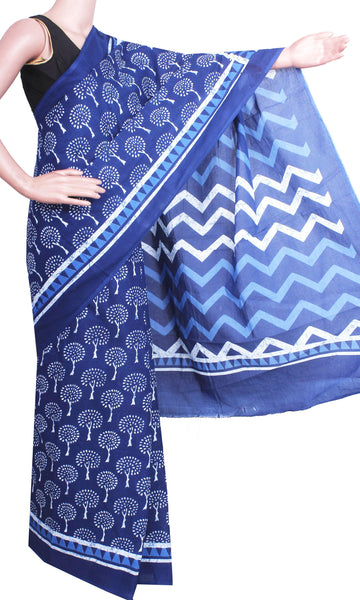 Batik cotton saree with a beautiful Attached blouse material -(34233B) - Swadeshi Boutique