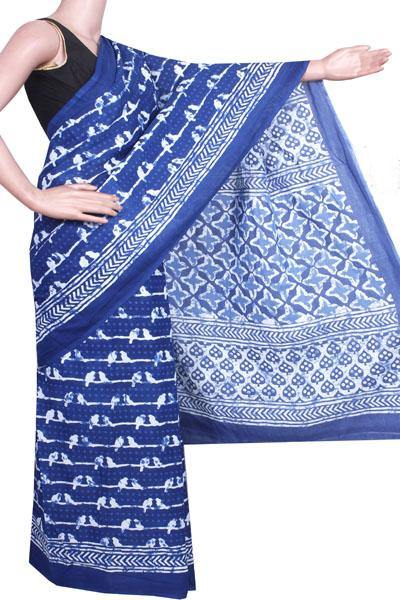 Batik cotton saree with a beautiful Attached blouse material -(34240A)(Rs.100 Off), Sarees - Swadeshi Boutique