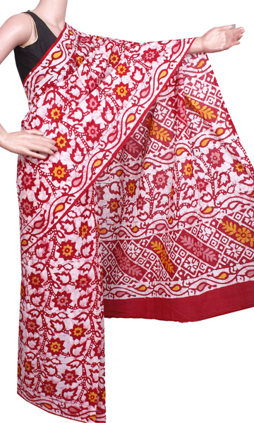 Batik cotton saree with a beautiful Attached blouse material -(34277A), Sarees - Swadeshi Boutique