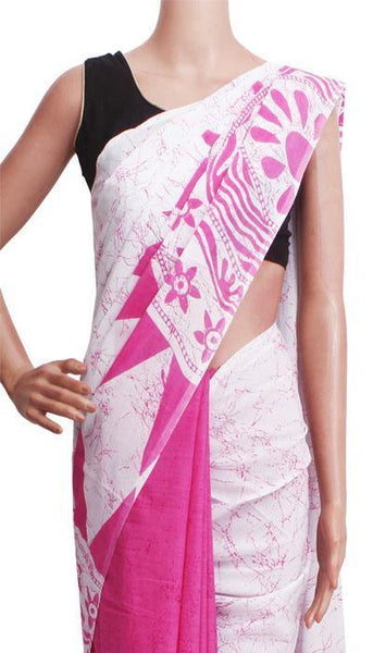 Batik cotton saree with a beautiful Attached blouse material -(34298A) *New Arrival*