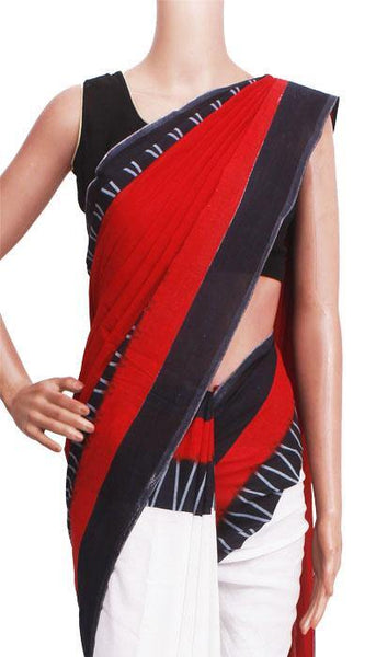 Batik cotton saree with a beautiful Attached blouse material -(34304A) *New Arrival*, Sarees - Swadeshi Boutique