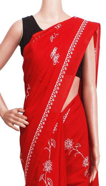 Batik cotton saree with a beautiful Attached blouse material -(34305A) *New Arrival*, Sarees - Swadeshi Boutique