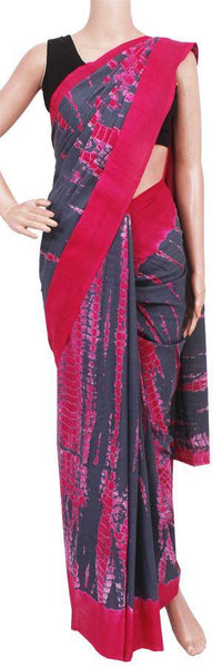 Batik cotton saree with ikkat design and attached blouse material -(34316A)
