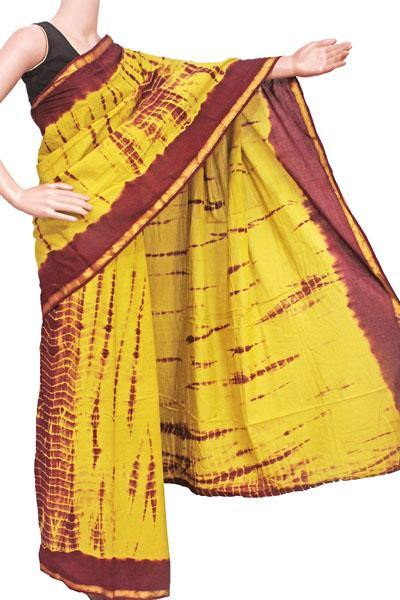 Batik cotton saree with zari border and beautiful Attached blouse material -(34327A), Sarees - Swadeshi Boutique