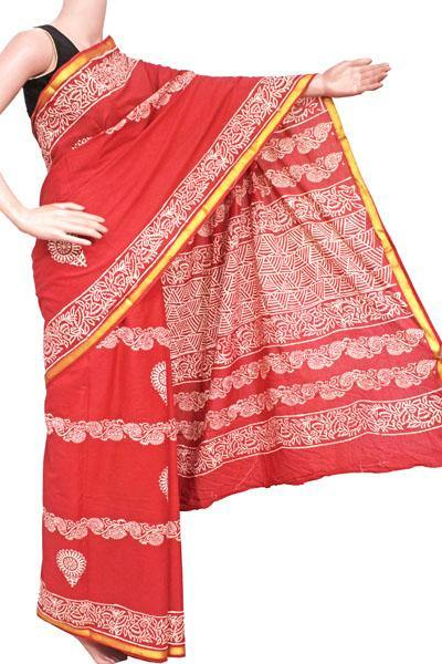 Batik cotton saree with zari border and beautiful Attached blouse material (Red)- 34338A, Sarees - Swadeshi Boutique