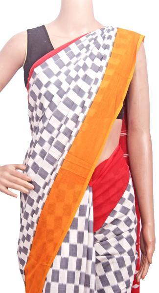 Batik cotton (soft) saree with a beautiful attached blouse material (White & Grey)- 34354A, Sarees - Swadeshi Boutique