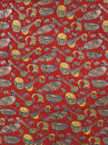 Kalamkari Crepe Silk Blouse material with Music Instruments - Red (35009A), Blouse - Swadeshi Boutique