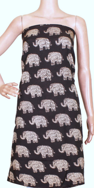 Kalamkari Crepe Silk Salwar Tops/Kurti material with Beautiful Elephants - Black (36024A) *SALE 30% OFF*, Tops - Swadeshi Boutique